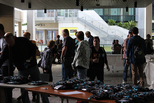 Picture of attendees registering for WordCamp Brisbane 2015